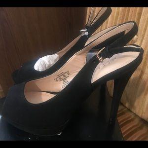 Classic open toe high heels.